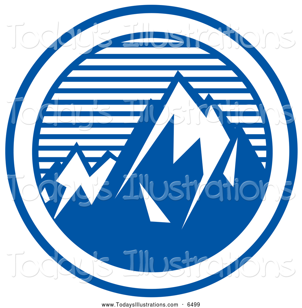 Logo Of Mountain Peaks Silhouetted Man Standing On A Mountain Peak