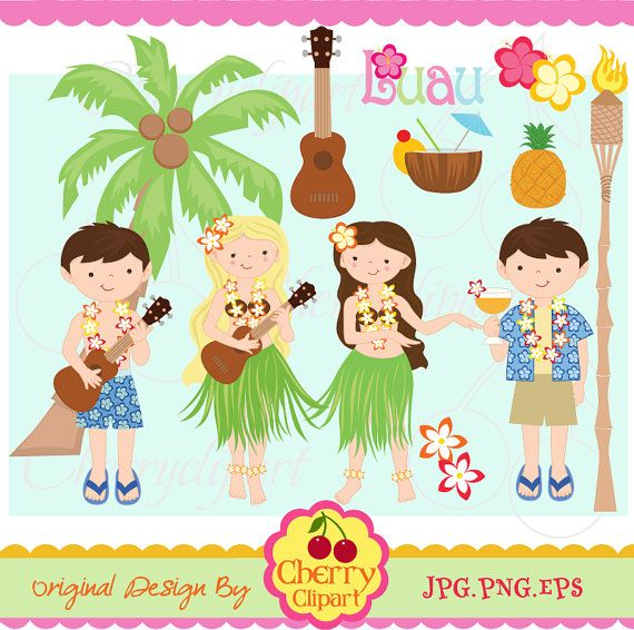 Luau Party Digital Clipart Set For  Personal And Commercial Use Paper