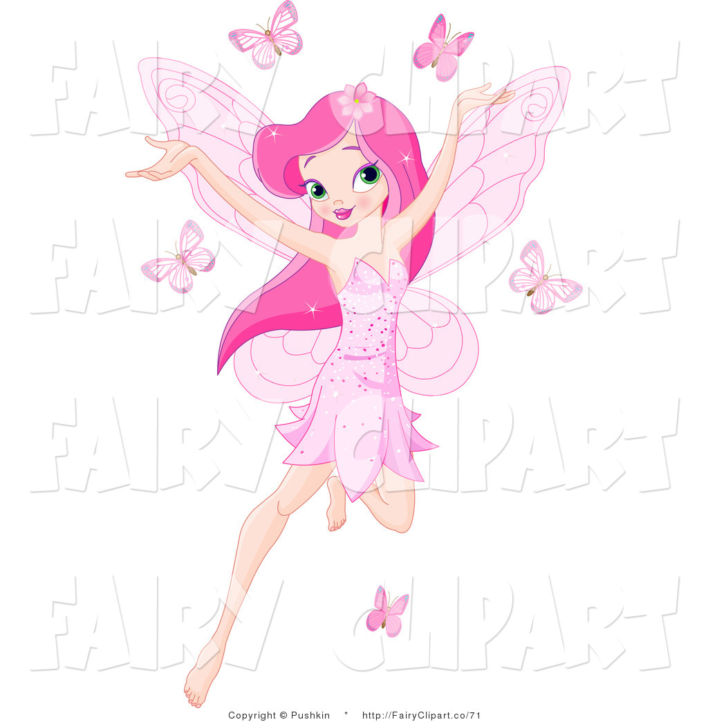 Of A Pink Haired Fairy Girl Flying With Pink Butterflies By Pushkin