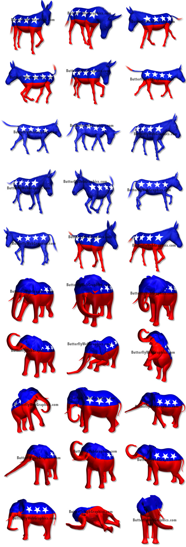 Political Icons Democratic Donkey And Republican Elephant Usa Clipart