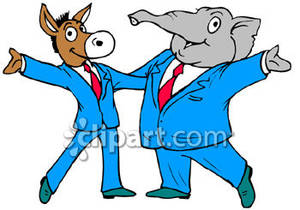 Republican Elephant Posing With The Democratic Donkey   Royalty Free
