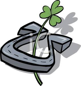 Royalty Free Clipart Image  A Horseshoe And A Shamrock