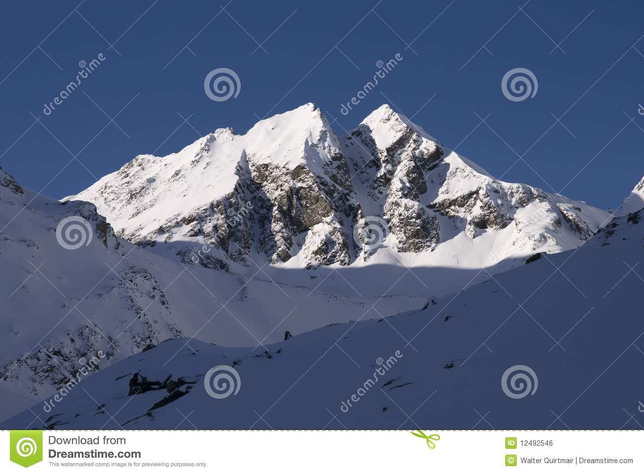 Two Similar Mountain Peaks In The Alps