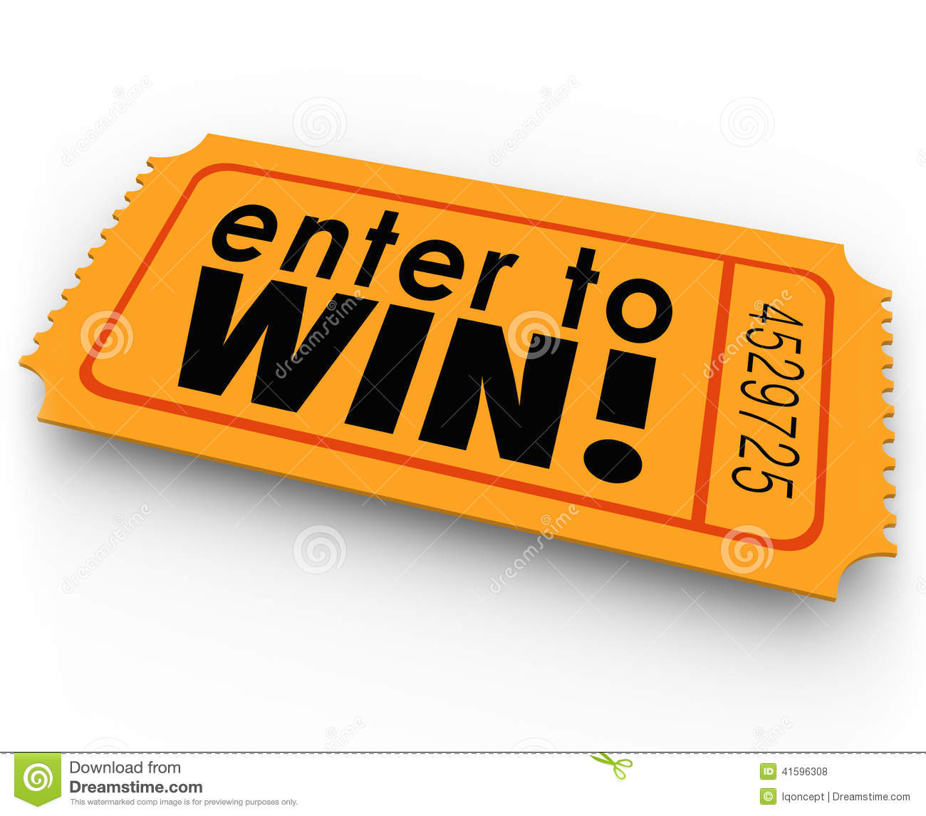 Win Words On An Orange Ticket For A Raffle Or Jackpt Drawing Where You