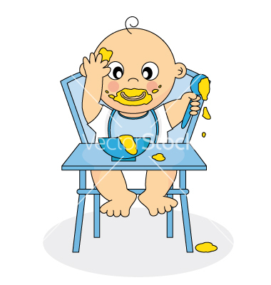Baby Eating Vector Art   Download Baby Vectors   655594