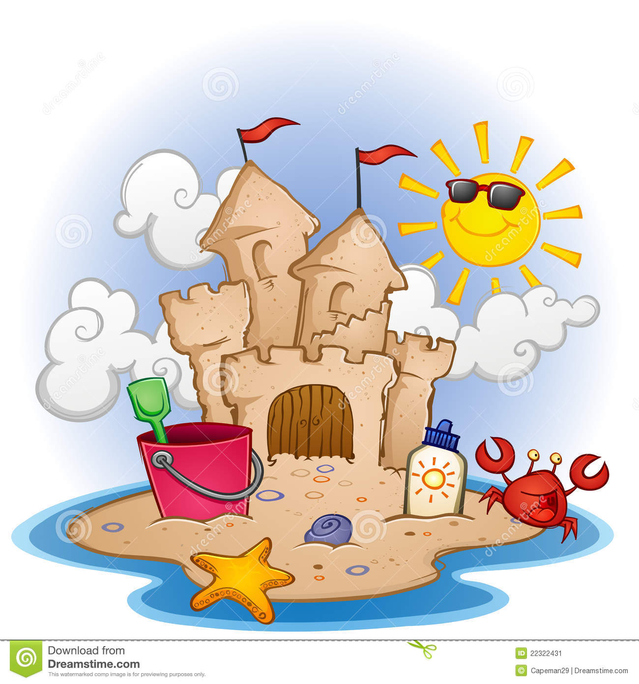 Clip Art Sandcastle Clipart sandcastle clipart kid beach scene with a toys and few fun characters