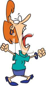 Cartoon Of A Frustrated Woman Yelling   Royalty Free Clipart Picture