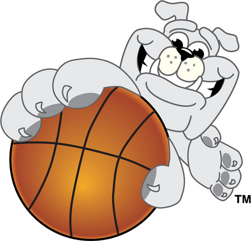 Clip Art Illustration Of A Bulldog School Mascot Holding Basketball