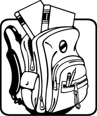 Clip Art Of A Backpack With Books In It