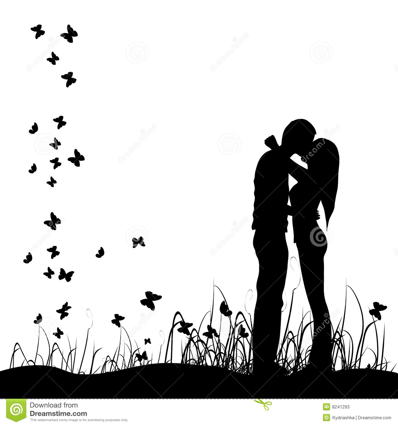 Couple Kisses On A Meadow Black Silhouette Stock Photos   Image