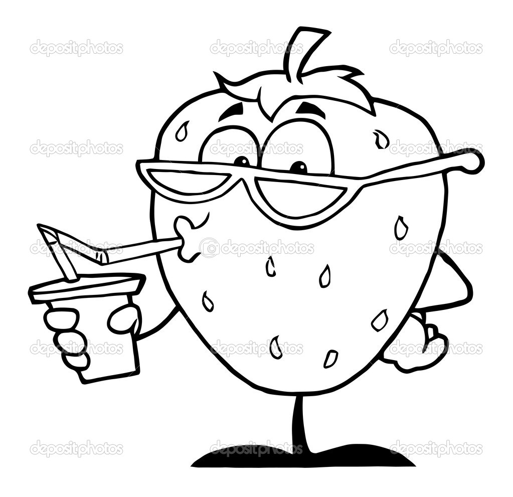 Outline Of A Strawberry Cartoon Character Juice Drink   Stock Photo