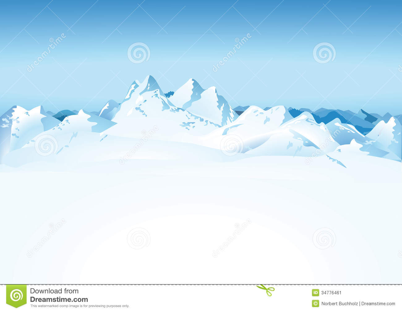 Scenic View Of Snowy White Mountain Range With Blue Sky Background