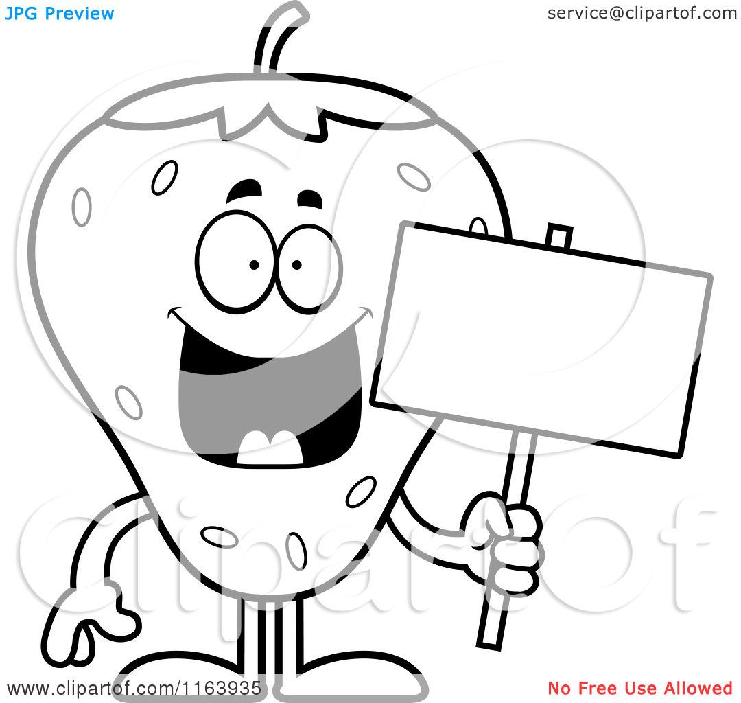 Strawberry Outline Cartoon Of A Strawberry Mascot #ecP2yp ...