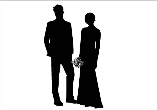 Wedding Couple Silhouette Vector Gorgeous Bride   Groom Silhouette