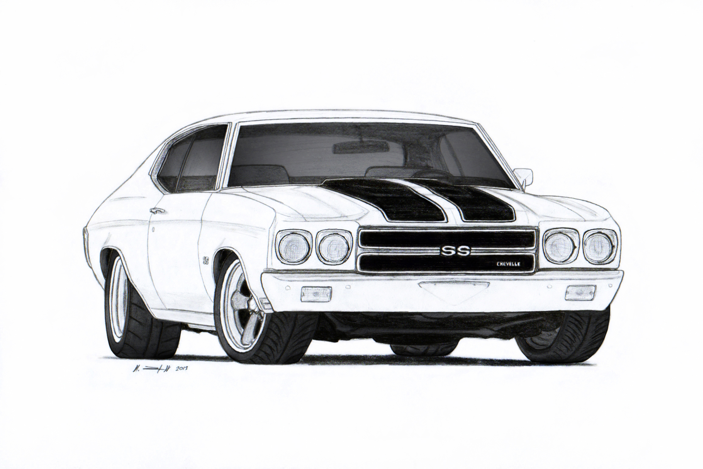 1970 Chevrolet Chevelle Ss Pro Touring Drawing By Vertualissimo On