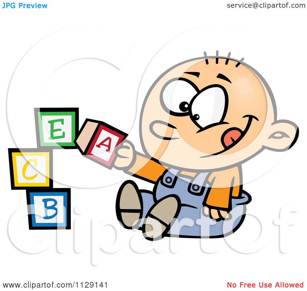 Baby Boy Playing With Alphabet Blocks   Royalty Free Vector Clipart By