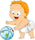 Baby Playing With Ball   Clipart Graphic