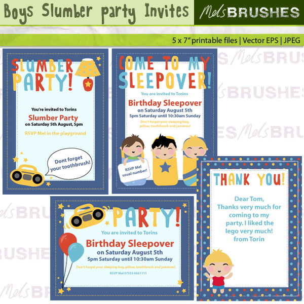 Boys Slumber Party Invites