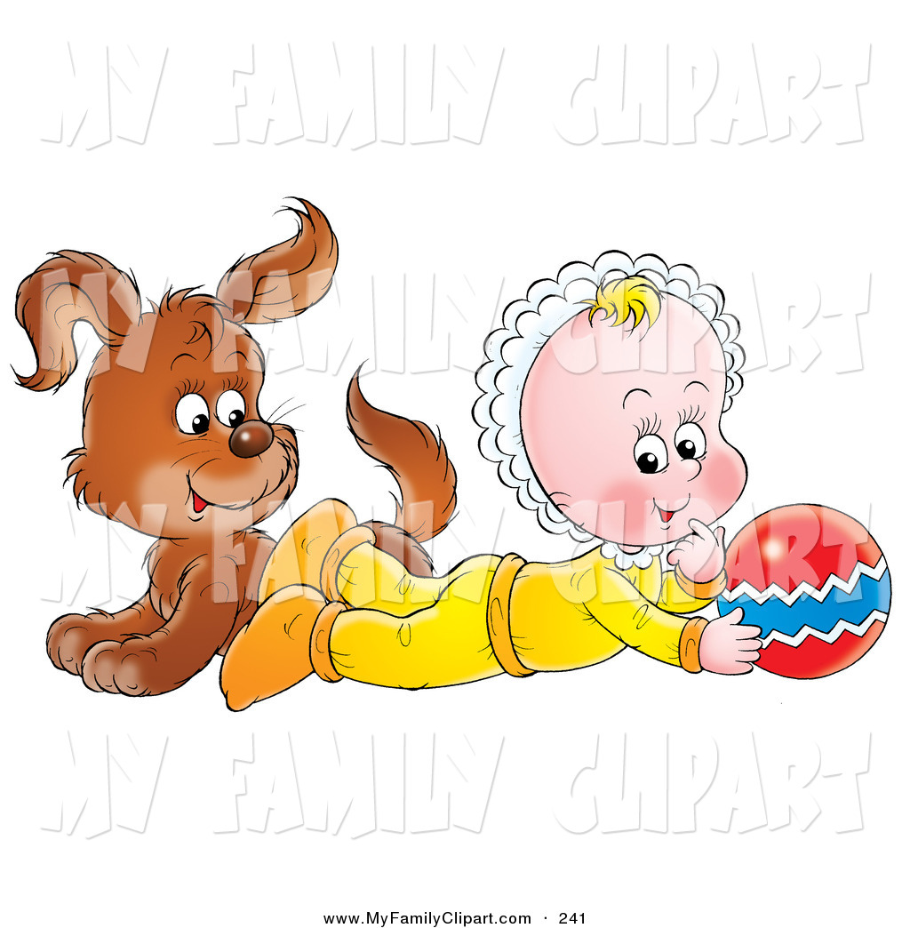 Brown Puppy Dog And Baby Playing With A Ball By Alex Bannykh    241