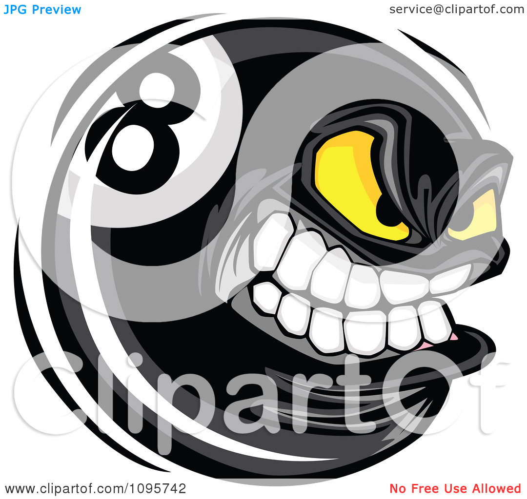 Clipart Aggressive Eight Ball Mascot   Royalty Free Vector