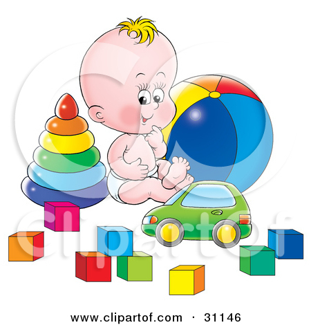 Clipart Illustration Of A Happy Baby In A Diaper Sitting On The Floor