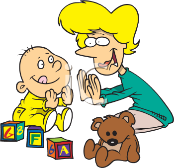 Clipart Picture Of A Mother And Baby Playing Patty Cake
