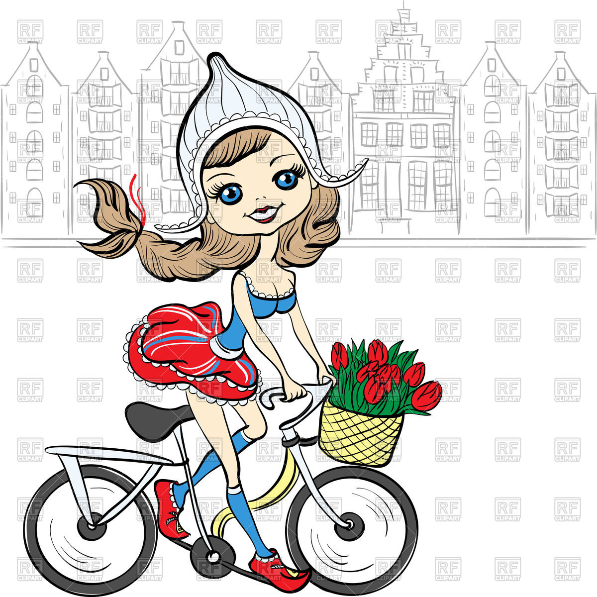Cute Girl On Bicycle In National Dutch Costume In Front Of European
