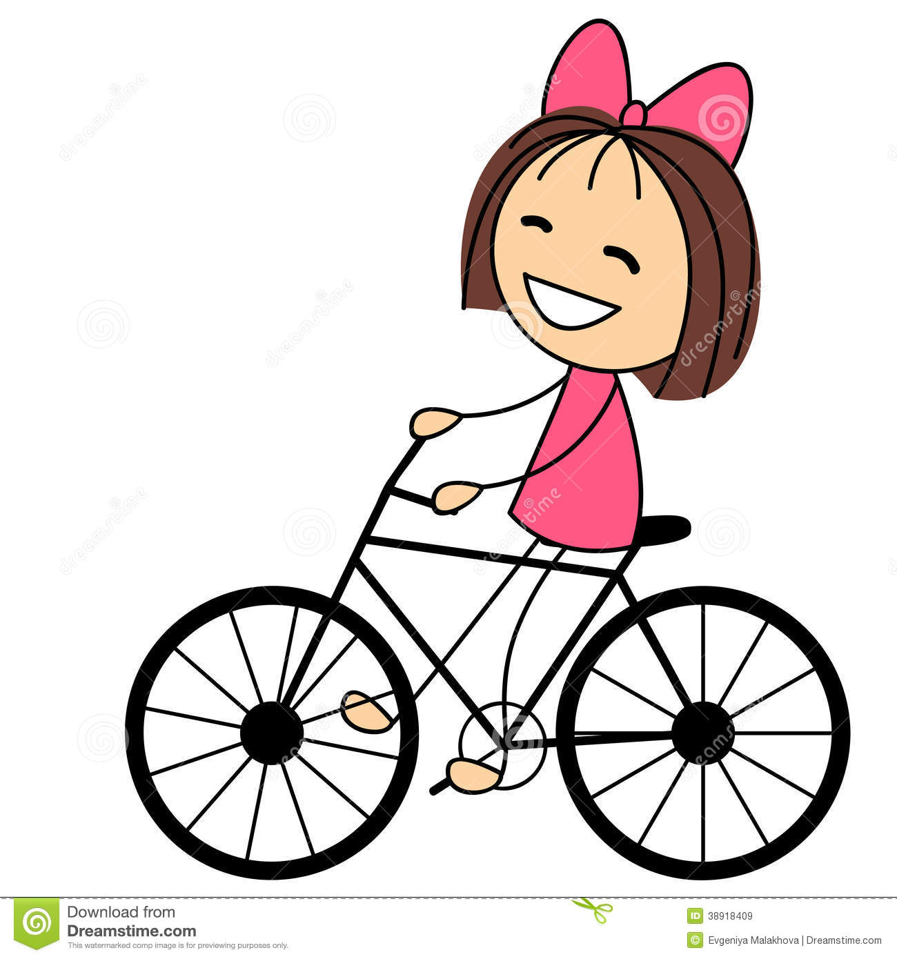 Cute Little Girl On Bicycle Stock Vector   Image  38918409