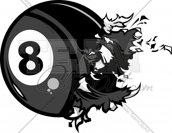 Exploding Eight Ball Billiards Vector Clipart Image   Team Clipart