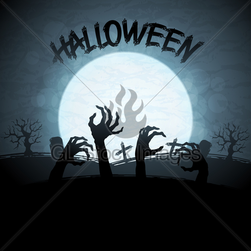 Halloween Background With Zombies And The Moon    Gl Stock Images
