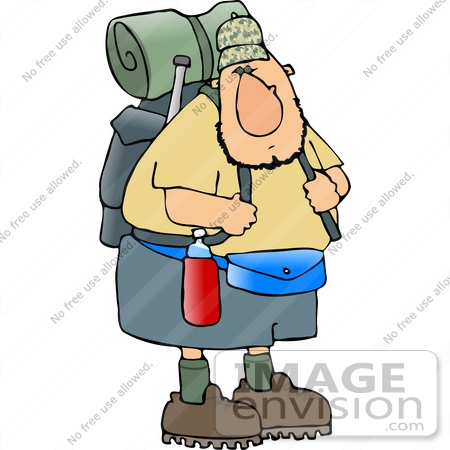 Hiker Man With Camping Gear Clipart    14991 By Djart   Royalty Free