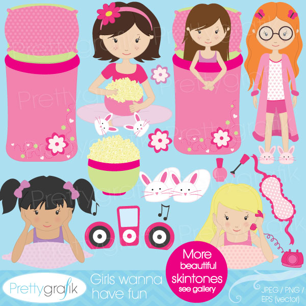 Kids Slumber Party Clipart Sleepover Slumber Party