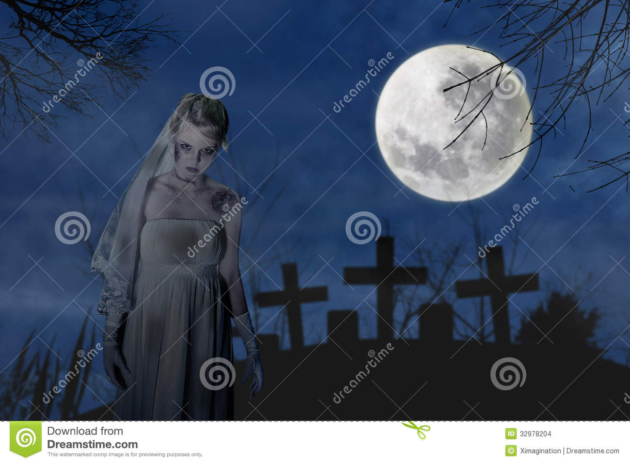 Scene With Creepy Zombie Bride On The Dark Night At Graveyard