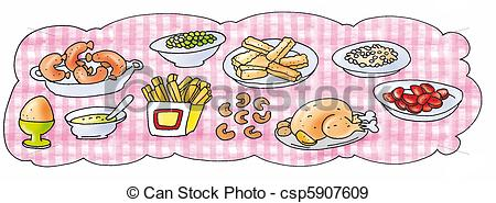 Stock Illustration Of Table Laden With Food Chicken Fries Sausage