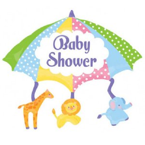 supershape baby shower foil balloon umbrella with animals