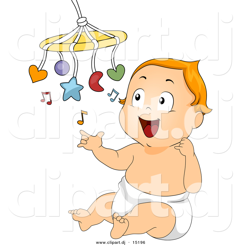 Vector Clipart Of A Cartoon Baby Playing With A Mobile Music Toy