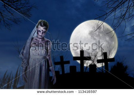 With Creepy Zombie Bride On The Dark Night At Graveyard   Stock Photo