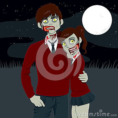Zombie High School Couple Hugging Together On A Dark Halloween Full