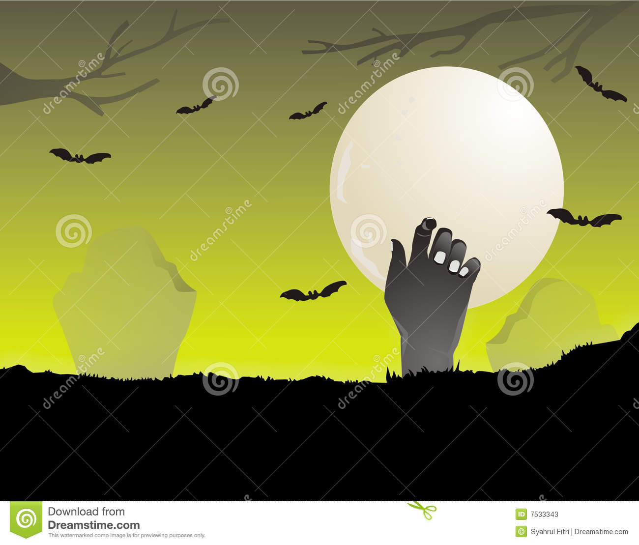 Zombie S Hand Come Out From The Graveyard When Full Moon Night