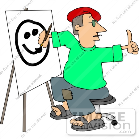 Artist Painting A Face On Easel Clipart    12607 By Djart   Royalty
