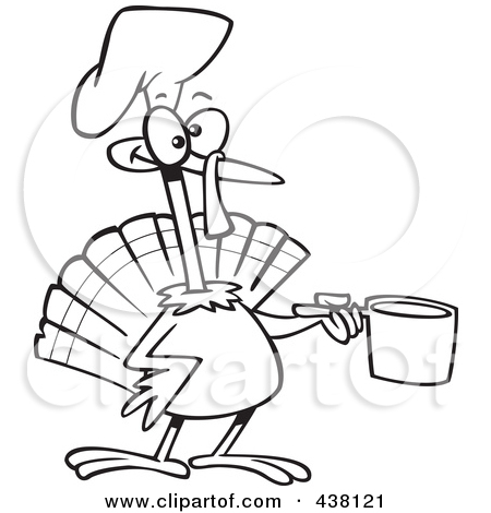 Black And White Outline Design Of A Chef Turkey Bird Holding A Pot