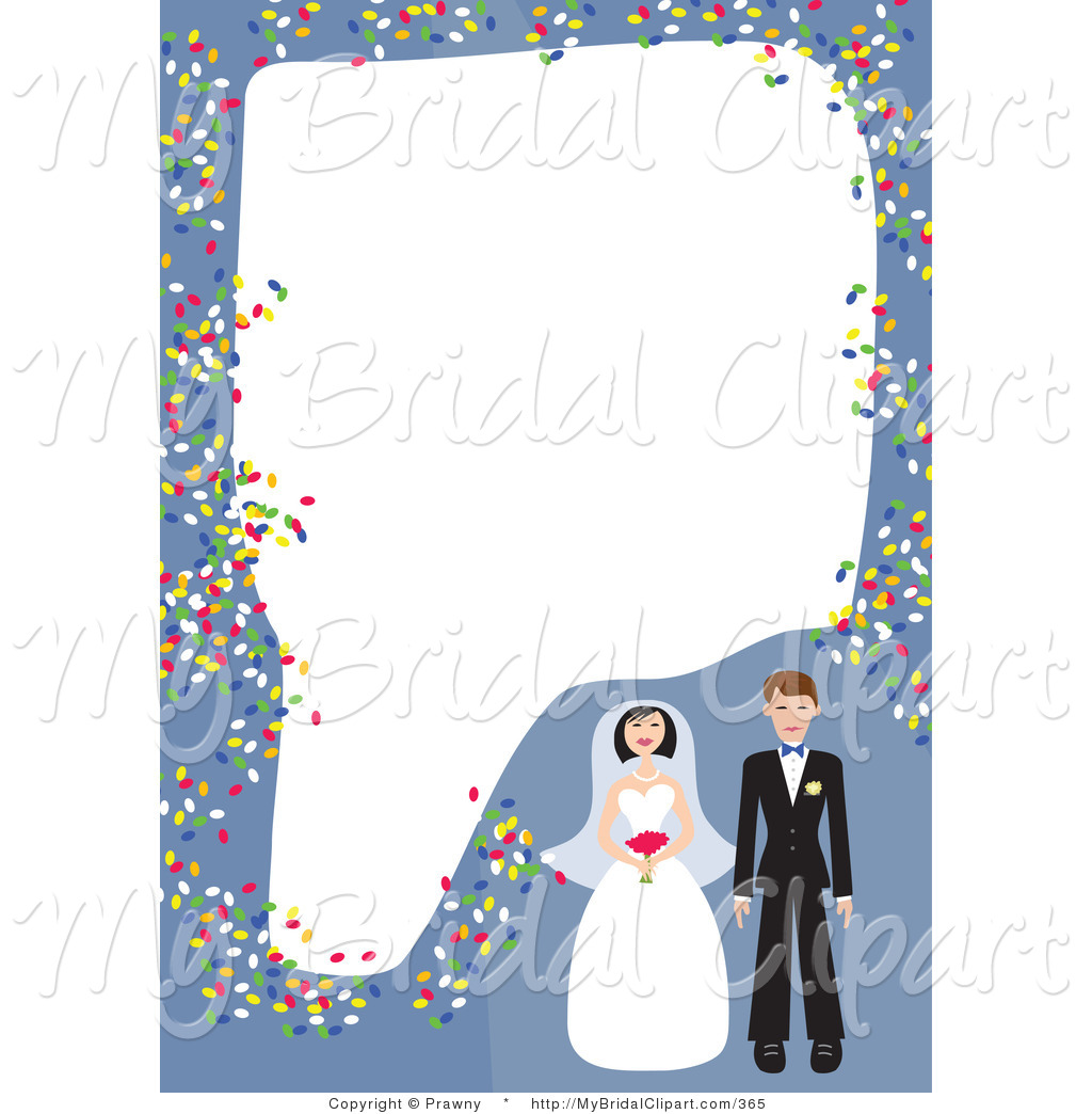 Bridal Clipart Of A Blue Stationery Border Of A Bride And Groom With