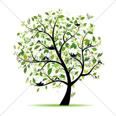 Clip Art Tree Green Trees Tree Advic Spring Tree Birds Line Art Design