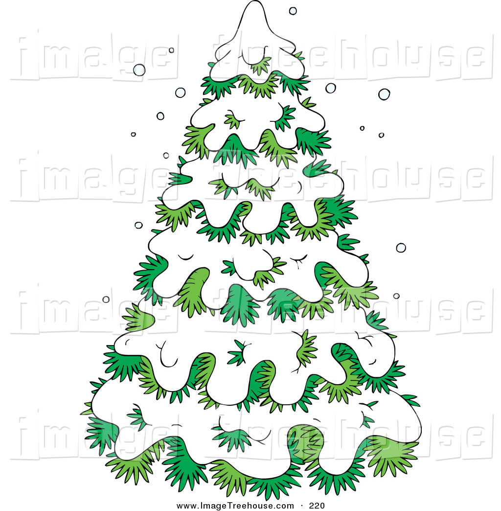 Clipart Of An Evergreen Christmas Tree Flocked In Snow On A Wintry Day