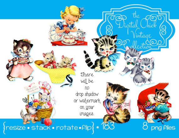 Digital Clipart Instant Download Vintage Kittens Little Girl Play