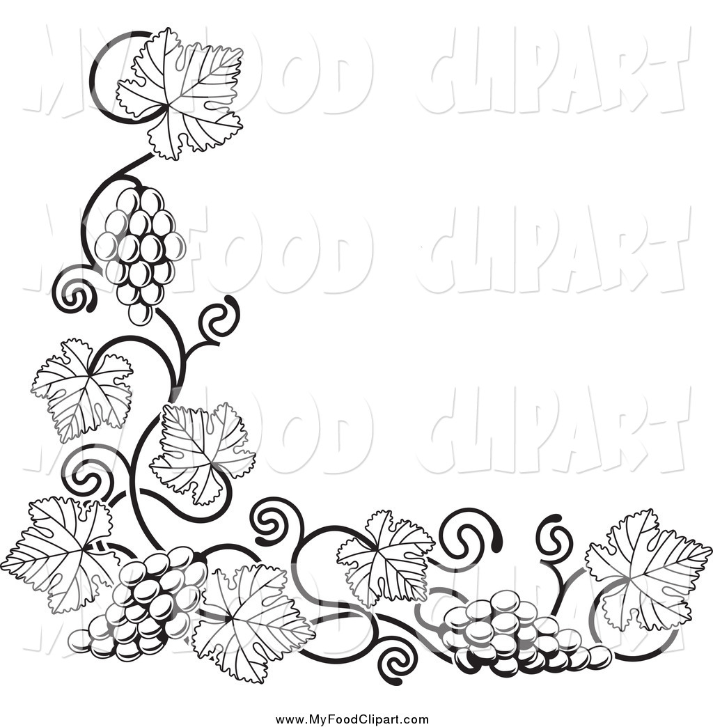 Food Clip Art Of A Black And White Grape Vine Corner Border By