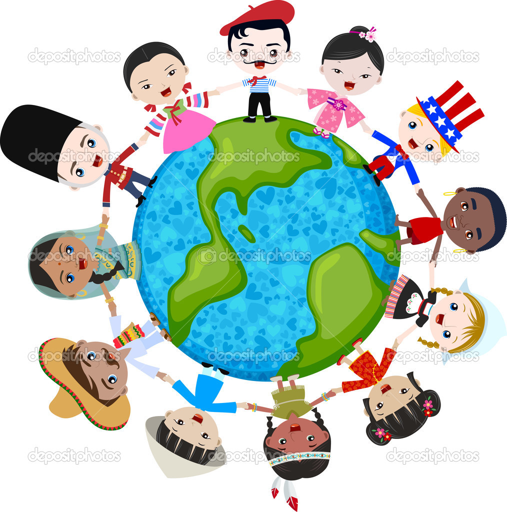 Multicultural Children On Planet Earth   Stock Vector   Pauljune