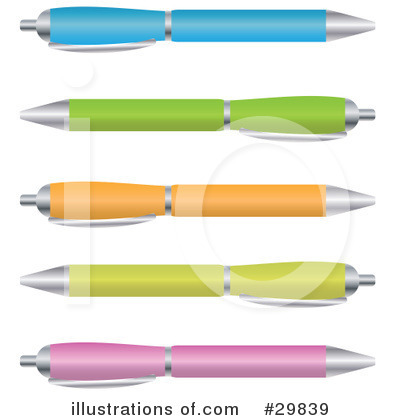 Pens Clipart  29839 By Melisende Vector   Royalty Free  Rf  Stock