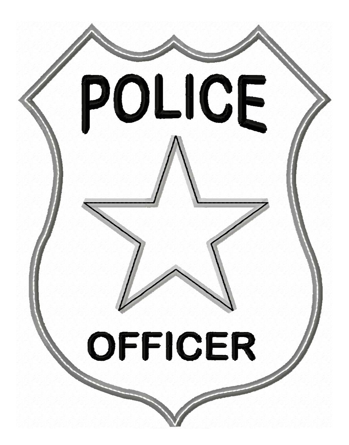 Clip Art Police Badge Clip Art badge officer outline clipart kid police applique