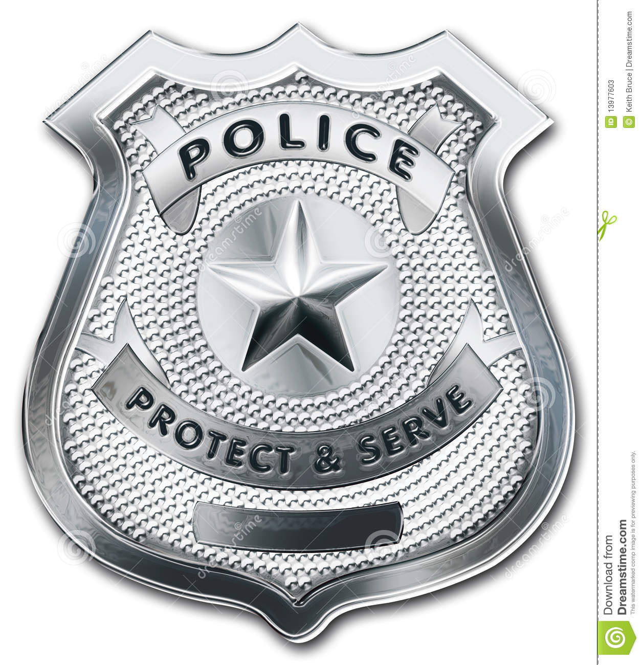 Shiny Metallic Police Officer Badge  Clipping Path Included